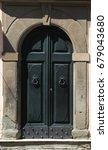 old beautiful dark green door...   Shutterstock . vector #679043680