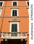 once beautiful orange building...   Shutterstock . vector #679044193