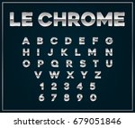 chrome silver metallic font set.... | Shutterstock . vector #679051846