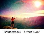 film grain effect. naked man in ... | Shutterstock . vector #679054600
