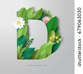 vector letter d of leaves and... | Shutterstock .eps vector #679063030
