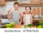 child girl and boy having fun... | Shutterstock . vector #679067620