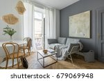 gray living room with couch ... | Shutterstock . vector #679069948