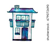 cute watercolor painted house.... | Shutterstock . vector #679072690
