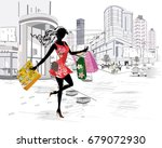 fashion young girl with long... | Shutterstock .eps vector #679072930