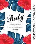 fun tropical party invitation... | Shutterstock .eps vector #679074379