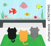 three kittens on carpet rug... | Shutterstock .eps vector #679074940