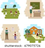 back to scool concept. set of... | Shutterstock . vector #679075726