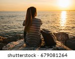 a young tourist girl with a... | Shutterstock . vector #679081264