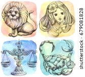 zodiac icons. set. watercolor.... | Shutterstock . vector #679081828