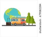 travel and tourism background. | Shutterstock . vector #679082284