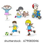 children fun play at park.... | Shutterstock .eps vector #679083046