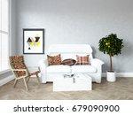 white room interior. 3d... | Shutterstock . vector #679090900