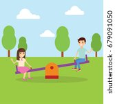 boy and girl on a see saw in an ... | Shutterstock .eps vector #679091050