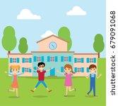 happy children background of... | Shutterstock .eps vector #679091068