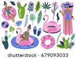 summer set with hand drawn... | Shutterstock .eps vector #679093033