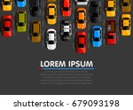 traffic jam on the road. road... | Shutterstock .eps vector #679093198