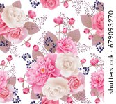 seamless floral pattern with... | Shutterstock .eps vector #679093270