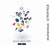 social media integrated 3d web... | Shutterstock .eps vector #679097818