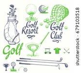 golf set with basket  putter ...   Shutterstock .eps vector #679103518