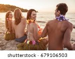 back view of group of young... | Shutterstock . vector #679106503