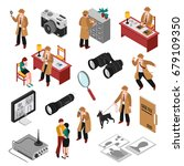 detective isometric set with... | Shutterstock .eps vector #679109350
