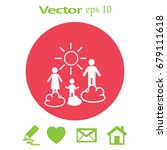 flat icon. happy family and sun....   Shutterstock .eps vector #679111618