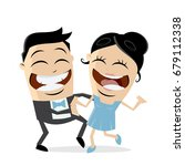 happy couple is dancing | Shutterstock .eps vector #679112338