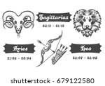 set of fire zodiac signs. aries ... | Shutterstock . vector #679122580