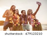 group of young attractive... | Shutterstock . vector #679123210