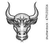 bull head engraving... | Shutterstock . vector #679131016