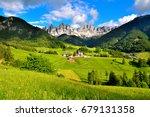 panorama val di funes italy | Shutterstock . vector #679131358