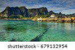 scenic fjord on lofoten islands ... | Shutterstock . vector #679132954
