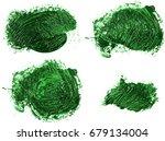 stain of oil green paint on... | Shutterstock . vector #679134004