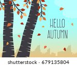 autumn landscape with trees ... | Shutterstock .eps vector #679135804