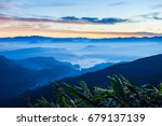 foggy mountains aerial... | Shutterstock . vector #679137139