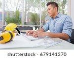 cad engineer's workplace....   Shutterstock . vector #679141270