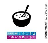 porridge bowl with spoon | Shutterstock .eps vector #679142410