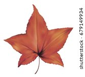 realistic red orange maple leaf ... | Shutterstock .eps vector #679149934