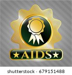 gold badge with ribbon icon... | Shutterstock .eps vector #679151488