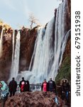 Small photo of Marrakech, Morocco- February 7, 2015: People enjoying and admiring Ouzoud Waterfalls in Marrakech , Morocco.