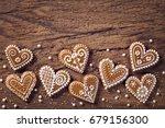 gingerbread heart cookies on a... | Shutterstock . vector #679156300