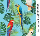 tropical pattern with parrots.... | Shutterstock .eps vector #679156768