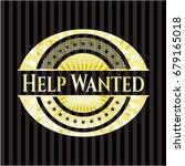 help wanted golden emblem | Shutterstock .eps vector #679165018