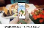 girl ordering food online with... | Shutterstock . vector #679165810