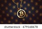 bitcoin gold pendant 3d... | Shutterstock . vector #679168678