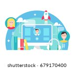 blended learning and e learning ... | Shutterstock .eps vector #679170400