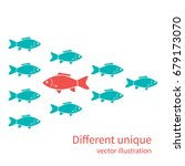 another unique. red fish in of... | Shutterstock .eps vector #679173070