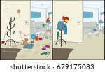 before and after house cleaning | Shutterstock .eps vector #679175083