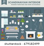 modern furniture items and home ... | Shutterstock .eps vector #679182499